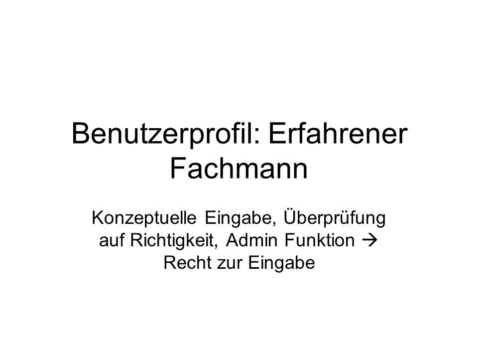Benutzerprofil: Erfahrener Fachmann Konzeptuelle Eingabe, Überprüfung auf Richtigkeit, Admin Funktion Recht zur Eingabe