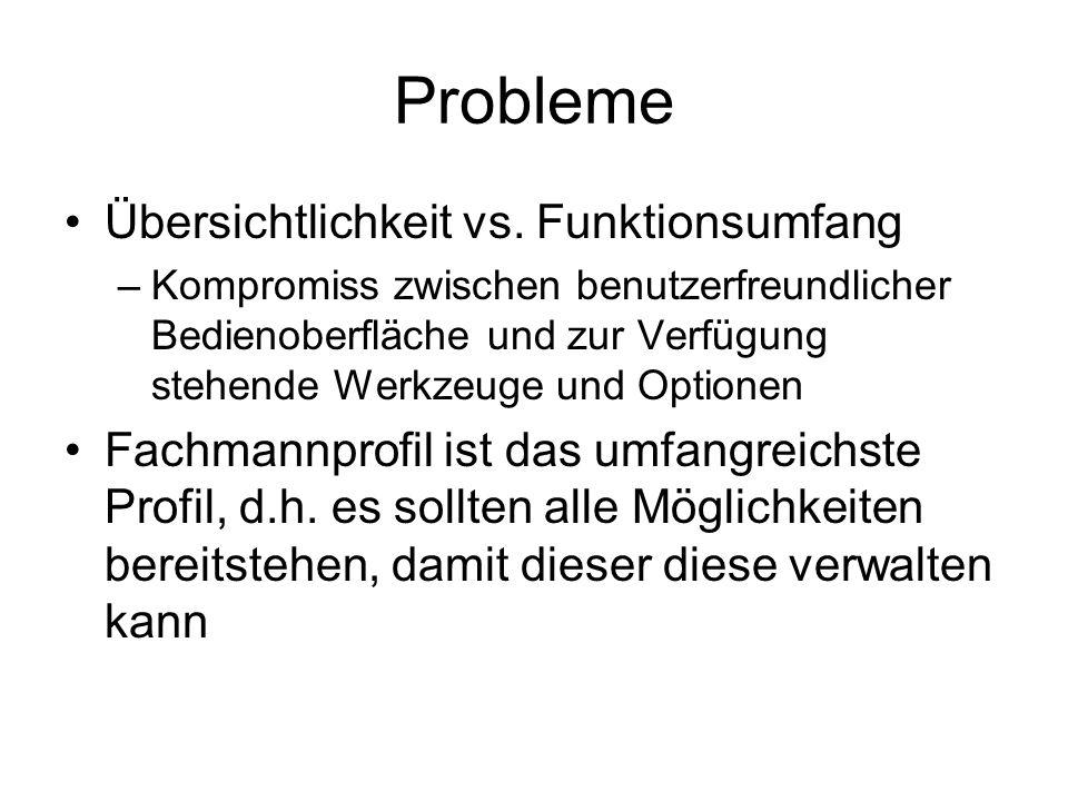 Probleme Übersichtlichkeit vs.