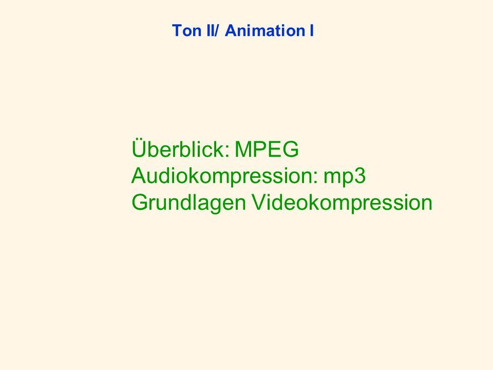 Ton II/ Animation I Überblick: MPEG Audiokompression: mp3 Grundlagen Videokompression