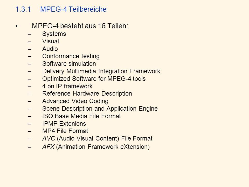 1.3.1MPEG-4 Teilbereiche MPEG-4 besteht aus 16 Teilen: –Systems –Visual –Audio –Conformance testing –Software simulation –Delivery Multimedia Integrat