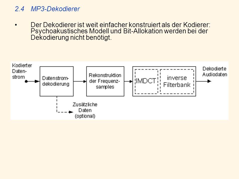 2.4MP3-Dekodierer Der Dekodierer ist weit einfacher konstruiert als der Kodierer: Psychoakustisches Modell und Bit-Allokation werden bei der Dekodieru