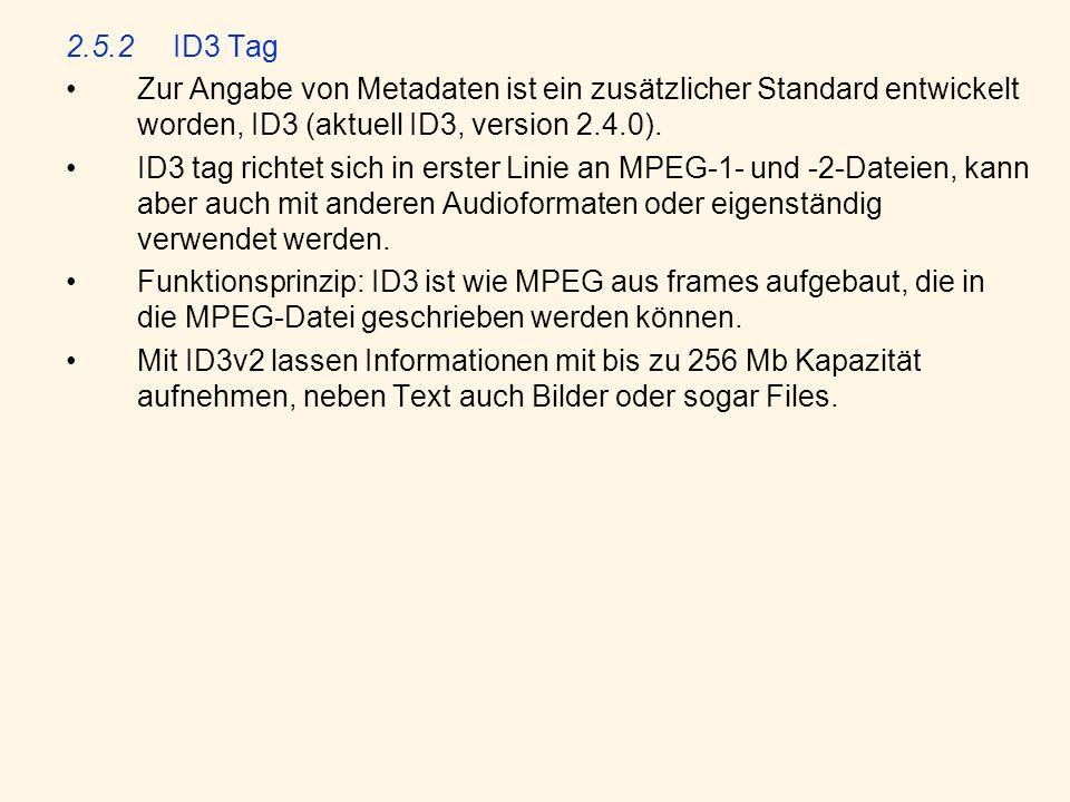 2.5.2ID3 Tag Zur Angabe von Metadaten ist ein zusätzlicher Standard entwickelt worden, ID3 (aktuell ID3, version 2.4.0). ID3 tag richtet sich in erste