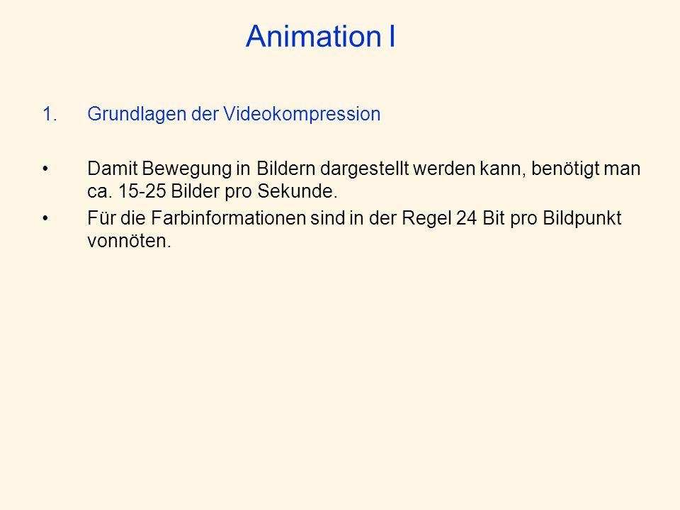 Animation I 1.Grundlagen der Videokompression Damit Bewegung in Bildern dargestellt werden kann, benötigt man ca. 15-25 Bilder pro Sekunde. Für die Fa