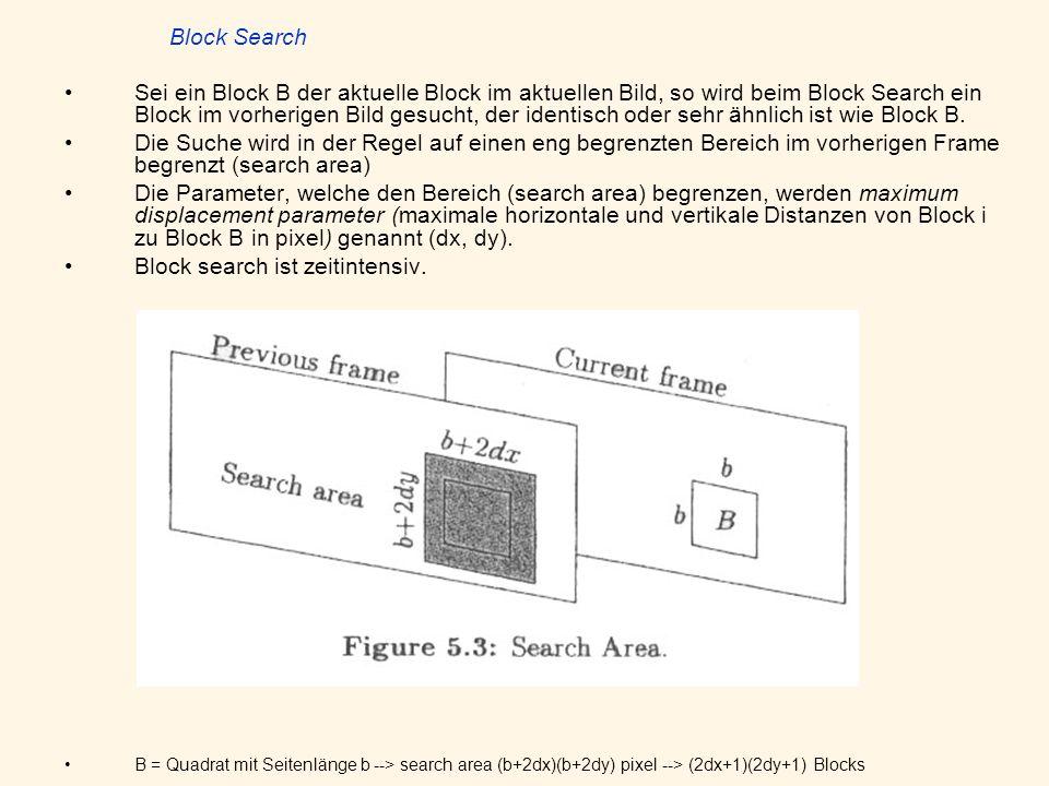 Block Search Sei ein Block B der aktuelle Block im aktuellen Bild, so wird beim Block Search ein Block im vorherigen Bild gesucht, der identisch oder