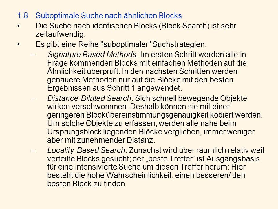 1.8 Suboptimale Suche nach ähnlichen Blocks Die Suche nach identischen Blocks (Block Search) ist sehr zeitaufwendig. Es gibt eine Reihe
