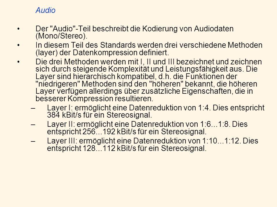 Conformance testing Der Conformance testing -Teil spezifiziert Testdesigns um zu verifizieren, ob die Bitströme und Dekoder den spezifizierten Anforderungen aus Teil I,II,III entsprechen.
