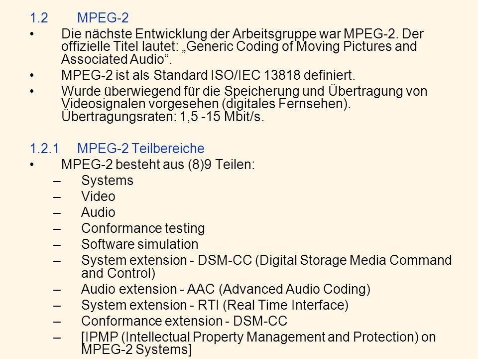 1.2MPEG-2 Die nächste Entwicklung der Arbeitsgruppe war MPEG-2. Der offizielle Titel lautet: Generic Coding of Moving Pictures and Associated Audio. M