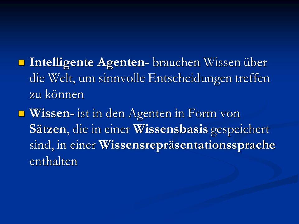 Intelligente Agenten- brauchen Wissen über die Welt, um sinnvolle Entscheidungen treffen zu können Intelligente Agenten- brauchen Wissen über die Welt