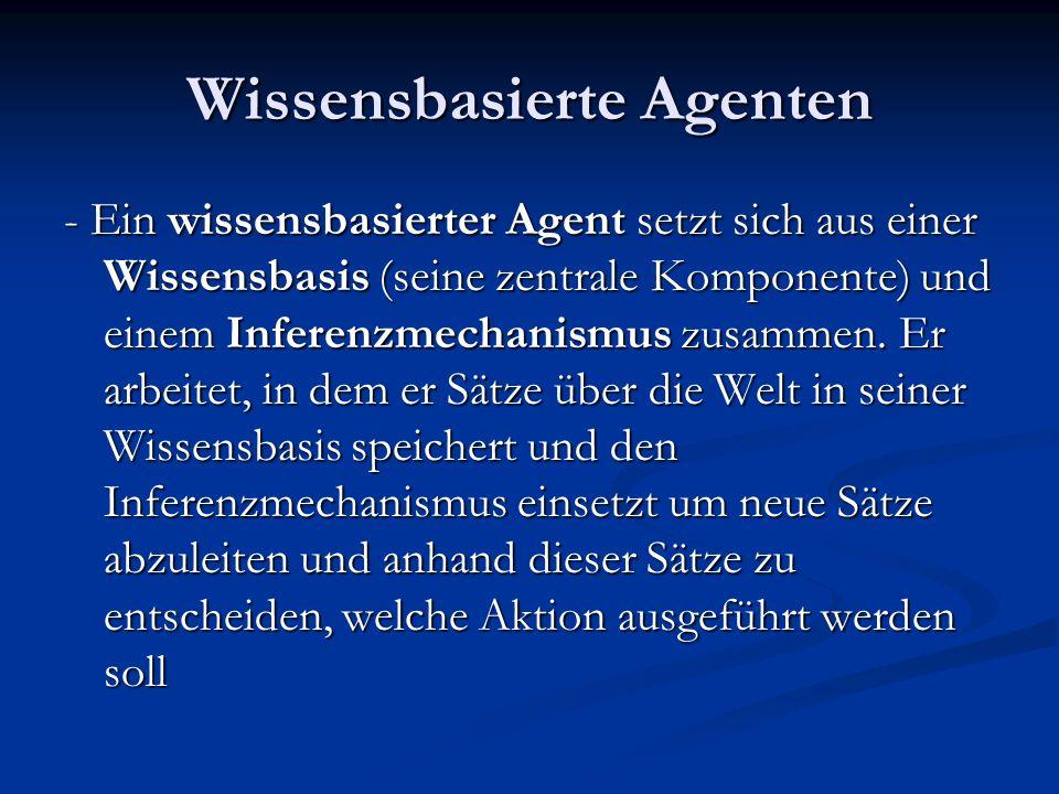 Wissensbasierte Agenten - Ein wissensbasierter Agent setzt sich aus einer Wissensbasis (seine zentrale Komponente) und einem Inferenzmechanismus zusam