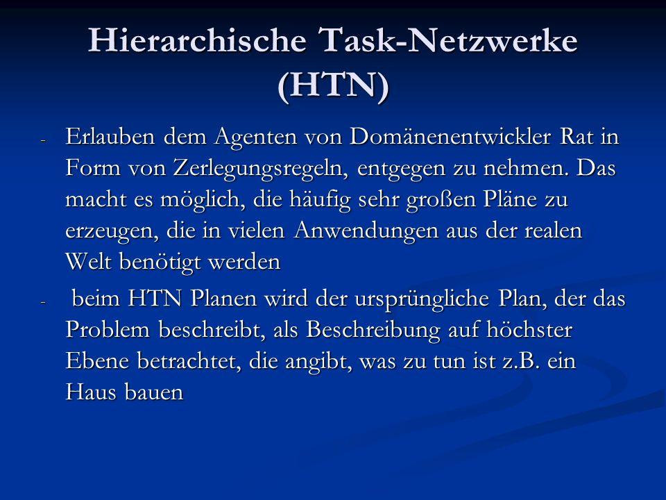 Hierarchische Task-Netzwerke (HTN) - Erlauben dem Agenten von Domänenentwickler Rat in Form von Zerlegungsregeln, entgegen zu nehmen. Das macht es mög