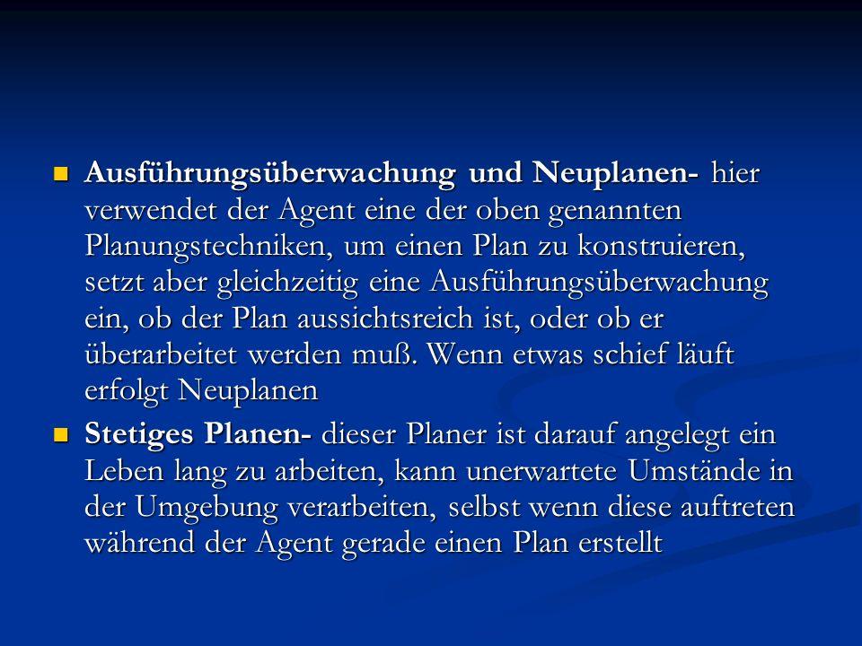 Ausführungsüberwachung und Neuplanen- hier verwendet der Agent eine der oben genannten Planungstechniken, um einen Plan zu konstruieren, setzt aber gl