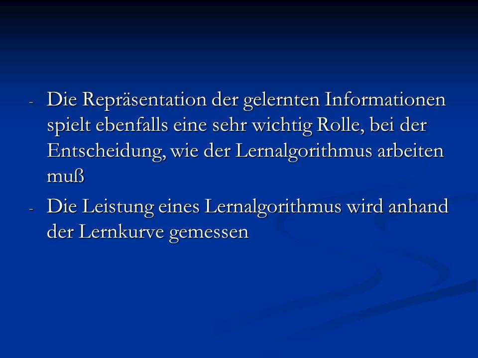 - Die Repräsentation der gelernten Informationen spielt ebenfalls eine sehr wichtig Rolle, bei der Entscheidung, wie der Lernalgorithmus arbeiten muß