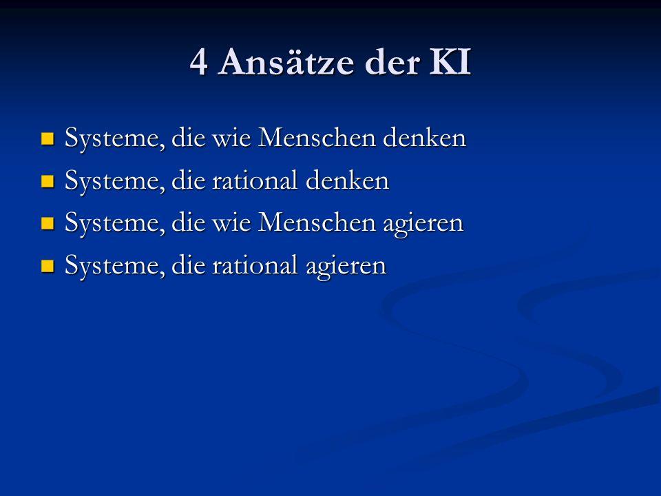 4 Ansätze der KI Systeme, die wie Menschen denken Systeme, die wie Menschen denken Systeme, die rational denken Systeme, die rational denken Systeme,