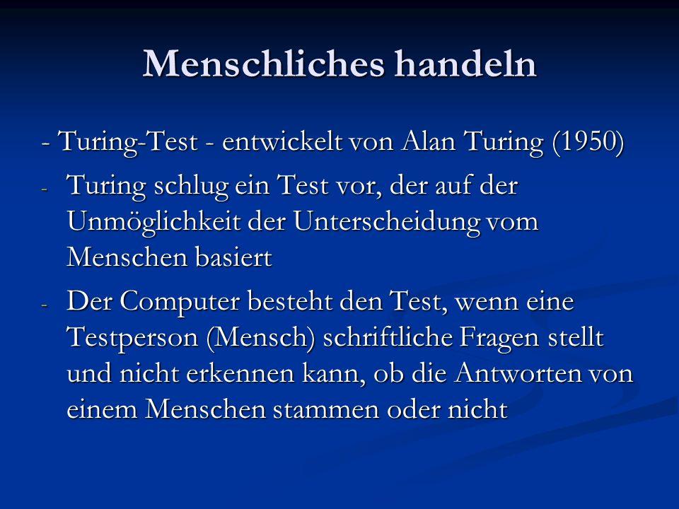 Der Computer muß folgende Eigenschaften besitzen Verarbeitung natürlicher Sprachen- um sinnvoll in Deutsch kommunizieren zu können Verarbeitung natürlicher Sprachen- um sinnvoll in Deutsch kommunizieren zu können Wissensrepräsentation- damit er speichern kann, was er weiß oder hört Wissensrepräsentation- damit er speichern kann, was er weiß oder hört Automatisches logisches Schließen- um die gespeicherten Informationen zu nutzen, Fragen zu beantworten und neue Schlüsse zu ziehen Automatisches logisches Schließen- um die gespeicherten Informationen zu nutzen, Fragen zu beantworten und neue Schlüsse zu ziehen Maschinenlernen- um sich an neue Zustände anzupassen und neue Muster zu erkennen Maschinenlernen- um sich an neue Zustände anzupassen und neue Muster zu erkennen