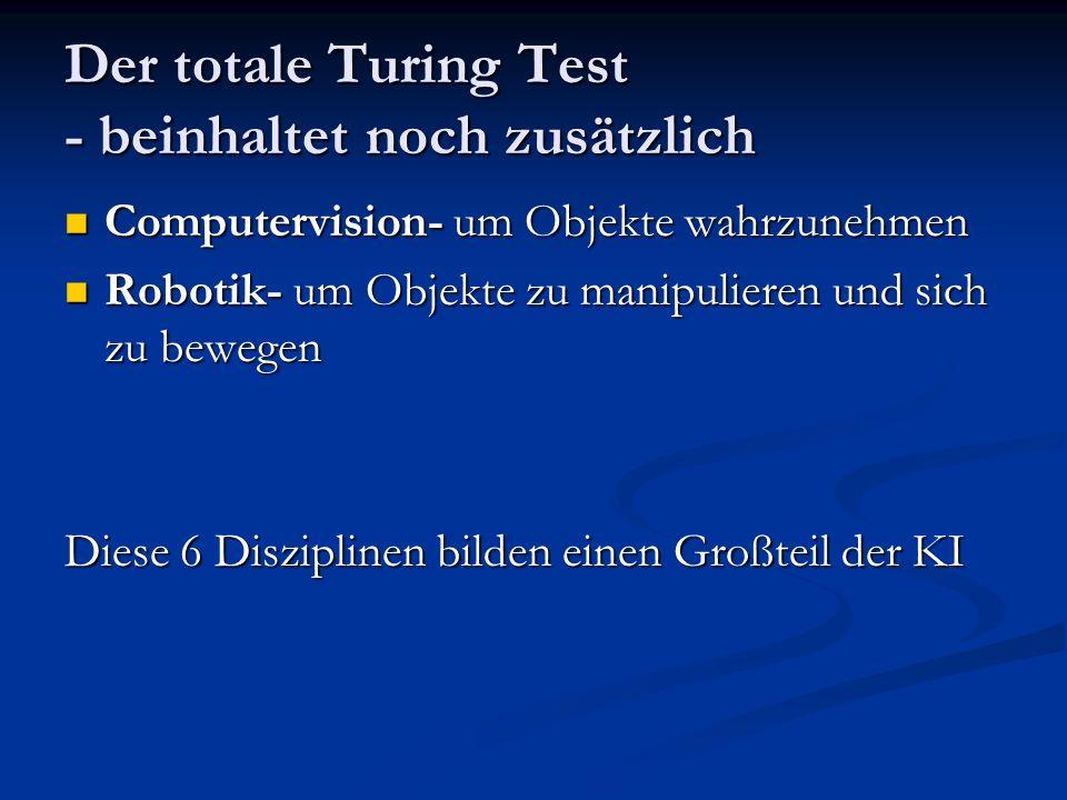 Der totale Turing Test - beinhaltet noch zusätzlich Computervision- um Objekte wahrzunehmen Computervision- um Objekte wahrzunehmen Robotik- um Objekt