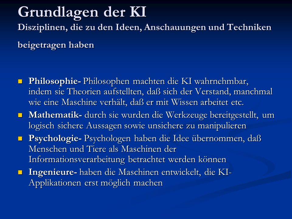 Grundlagen der KI Disziplinen, die zu den Ideen, Anschauungen und Techniken beigetragen haben Philosophie- Philosophen machten die KI wahrnehmbar, ind
