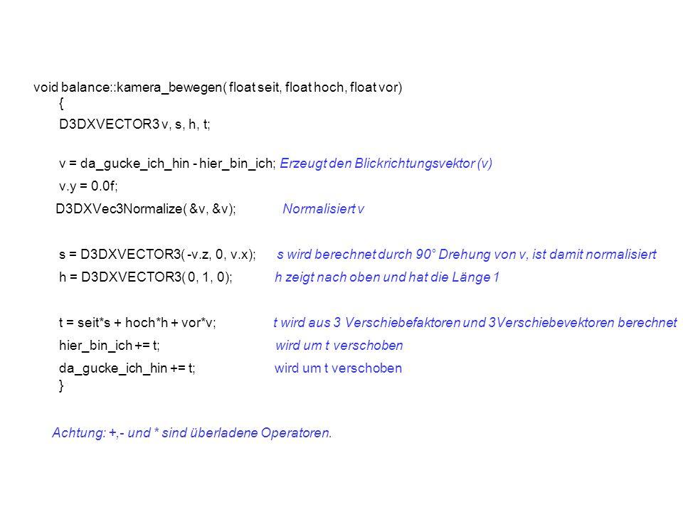 void balance::kamera_bewegen( float seit, float hoch, float vor) { D3DXVECTOR3 v, s, h, t; v = da_gucke_ich_hin - hier_bin_ich; Erzeugt den Blickrichtungsvektor (v) v.y = 0.0f; D3DXVec3Normalize( &v, &v); Normalisiert v s = D3DXVECTOR3( -v.z, 0, v.x); s wird berechnet durch 90° Drehung von v, ist damit normalisiert h = D3DXVECTOR3( 0, 1, 0); h zeigt nach oben und hat die Länge 1 t = seit*s + hoch*h + vor*v; t wird aus 3 Verschiebefaktoren und 3Verschiebevektoren berechnet hier_bin_ich += t; wird um t verschoben da_gucke_ich_hin += t; wird um t verschoben } Achtung: +,- und * sind überladene Operatoren.