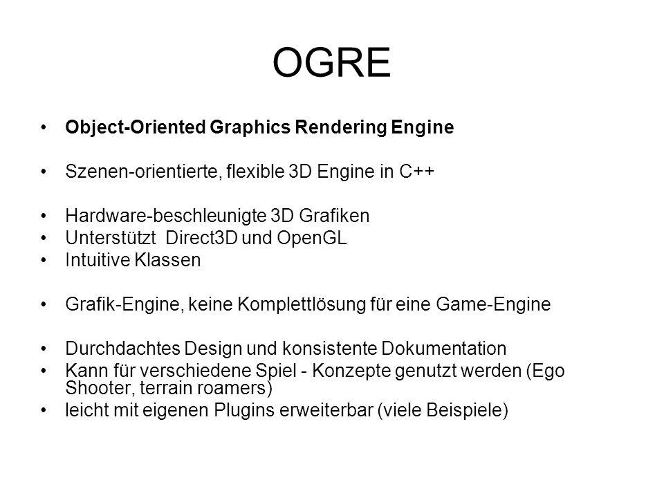 OGRE Object-Oriented Graphics Rendering Engine Szenen-orientierte, flexible 3D Engine in C++ Hardware-beschleunigte 3D Grafiken Unterstützt Direct3D und OpenGL Intuitive Klassen Grafik-Engine, keine Komplettlösung für eine Game-Engine Durchdachtes Design und konsistente Dokumentation Kann für verschiedene Spiel - Konzepte genutzt werden (Ego Shooter, terrain roamers) leicht mit eigenen Plugins erweiterbar (viele Beispiele)