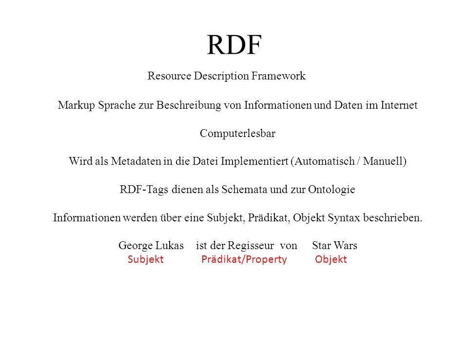 RDF Resource Description Framework Markup Sprache zur Beschreibung von Informationen und Daten im Internet Computerlesbar Wird als Metadaten in die Datei Implementiert (Automatisch / Manuell) RDF-Tags dienen als Schemata und zur Ontologie Informationen werden über eine Subjekt, Prädikat, Objekt Syntax beschrieben.