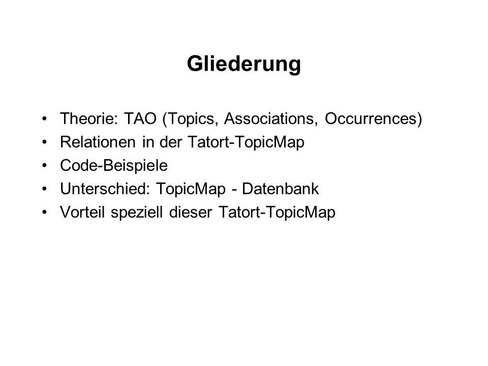 Gliederung Theorie: TAO (Topics, Associations, Occurrences) Relationen in der Tatort-TopicMap Code-Beispiele Unterschied: TopicMap - Datenbank Vorteil speziell dieser Tatort-TopicMap