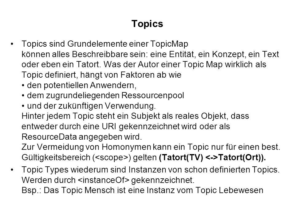 Topics Topics sind Grundelemente einer TopicMap können alles Beschreibbare sein: eine Entität, ein Konzept, ein Text oder eben ein Tatort.