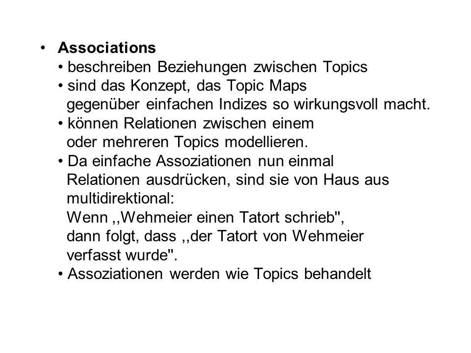 Associations beschreiben Beziehungen zwischen Topics sind das Konzept, das Topic Maps gegenüber einfachen Indizes so wirkungsvoll macht.