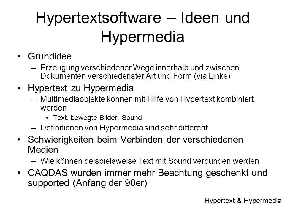Hypertextsoftware – Ideen und Hypermedia Grundidee –Erzeugung verschiedener Wege innerhalb und zwischen Dokumenten verschiedenster Art und Form (via L