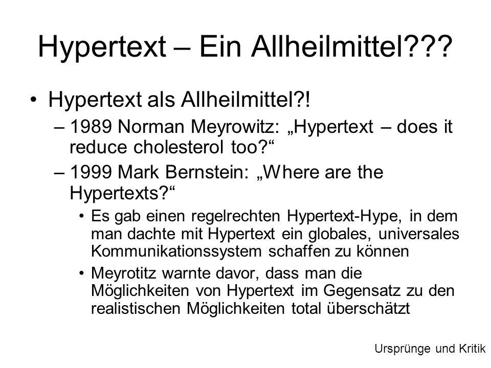 Hypertext – Ein Allheilmittel??? Hypertext als Allheilmittel?! –1989 Norman Meyrowitz: Hypertext – does it reduce cholesterol too? –1999 Mark Bernstei