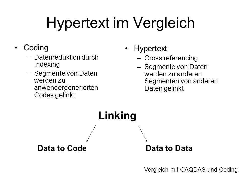 Hypertext im Vergleich Coding –Datenreduktion durch Indexing –Segmente von Daten werden zu anwendergenerierten Codes gelinkt Hypertext –Cross referenc