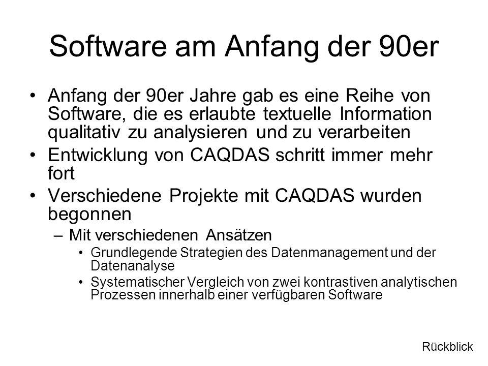 Software am Anfang der 90er Anfang der 90er Jahre gab es eine Reihe von Software, die es erlaubte textuelle Information qualitativ zu analysieren und