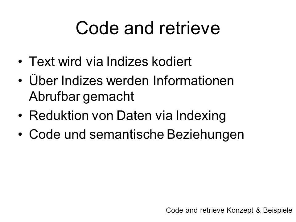 Code and retrieve Text wird via Indizes kodiert Über Indizes werden Informationen Abrufbar gemacht Reduktion von Daten via Indexing Code und semantisc