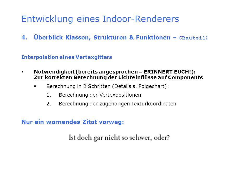 Entwicklung eines Indoor-Renderers 4.Überblick Klassen, Strukturen & Funktionen – CBauteil : Interpolation eines Vertexgitters Notwendigkeit (bereits