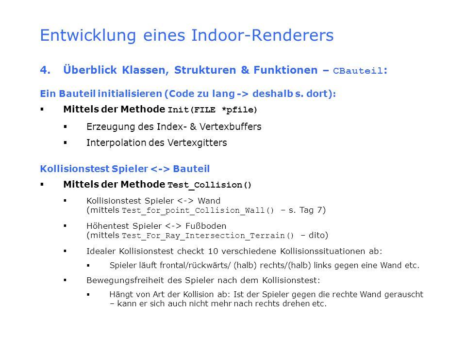 Entwicklung eines Indoor-Renderers 4.Überblick Klassen, Strukturen & Funktionen – CBauteil : Ein Bauteil initialisieren (Code zu lang -> deshalb s. do