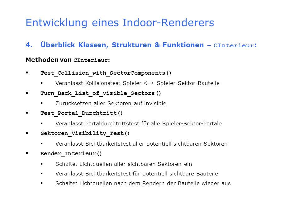 Entwicklung eines Indoor-Renderers 4.Überblick Klassen, Strukturen & Funktionen – CInterieur : Methoden von CInterieur : Test_Collision_with_SectorCom