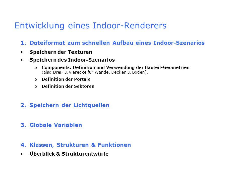 Entwicklung eines Indoor-Renderers 1.Dateiformat zum schnellen Aufbau eines Indoor-Szenarios Speichern der Texturen Speichern des Indoor-Szenarios oCo