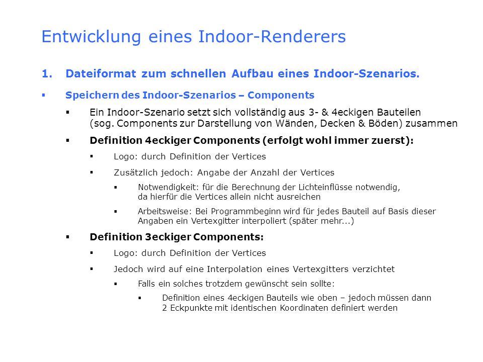 Entwicklung eines Indoor-Renderers 1. Dateiformat zum schnellen Aufbau eines Indoor-Szenarios. Speichern des Indoor-Szenarios – Components Ein Indoor-