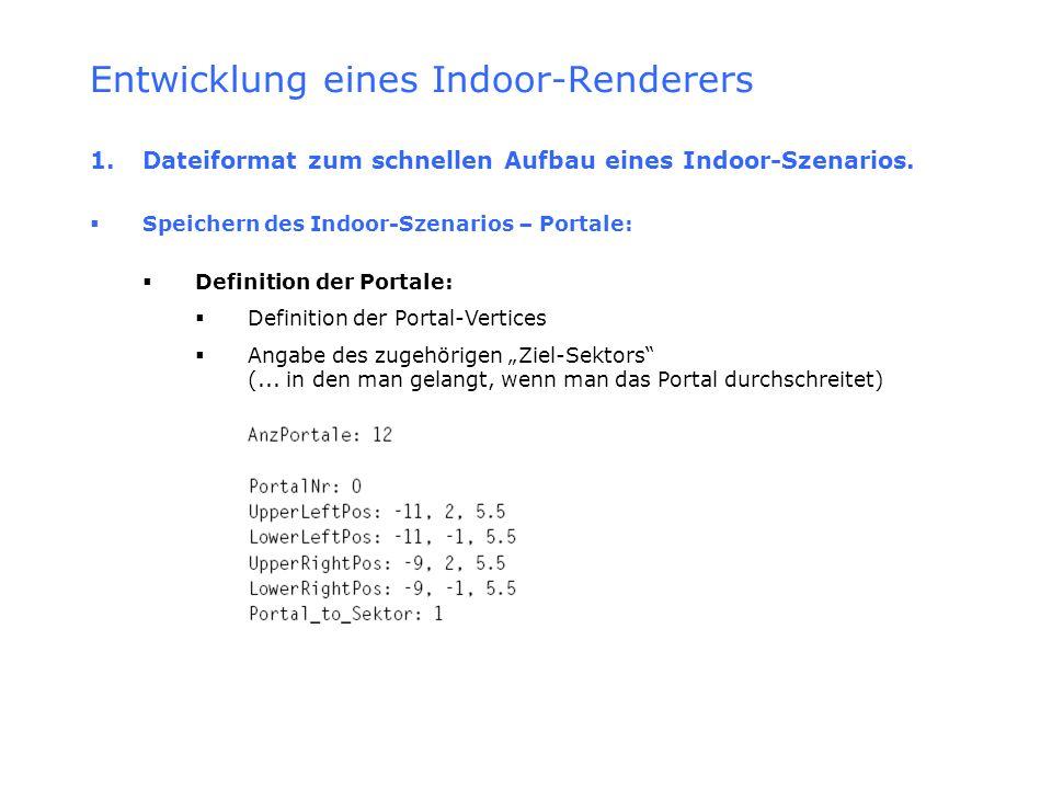 Entwicklung eines Indoor-Renderers 1. Dateiformat zum schnellen Aufbau eines Indoor-Szenarios. Speichern des Indoor-Szenarios – Portale: Definition de