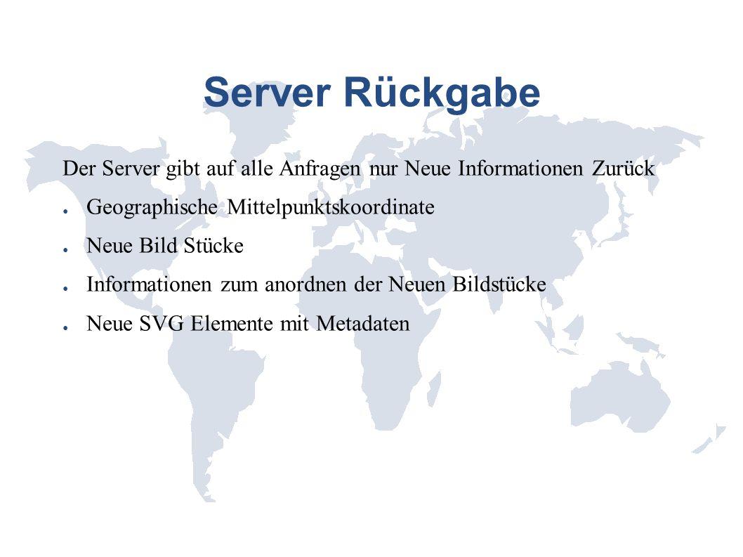 Server Rückgabe Der Server gibt auf alle Anfragen nur Neue Informationen Zurück Geographische Mittelpunktskoordinate Neue Bild Stücke Informationen zu