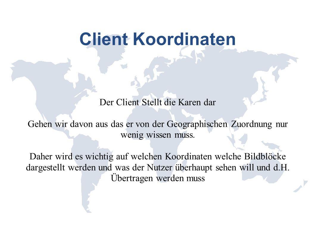 Client Koordinaten System Beispielsystem: Mittelpunktsblock Mittelpunkts Pixel Mittelpunkts Koordinate (Geographische) Zoomfaktor Darstellungsart Kartenname/Typ