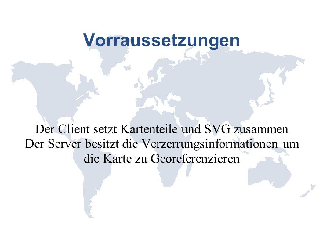 Vorraussetzungen Der Client setzt Kartenteile und SVG zusammen Der Server besitzt die Verzerrungsinformationen um die Karte zu Georeferenzieren