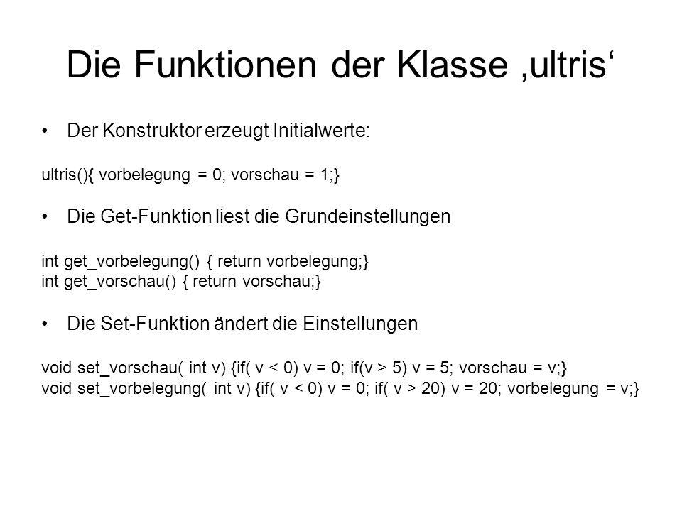 Die Funktionen der Klasse ultris Der Konstruktor erzeugt Initialwerte: ultris(){ vorbelegung = 0; vorschau = 1;} Die Get-Funktion liest die Grundeinstellungen int get_vorbelegung() { return vorbelegung;} int get_vorschau() { return vorschau;} Die Set-Funktion ändert die Einstellungen void set_vorschau( int v) {if( v 5) v = 5; vorschau = v;} void set_vorbelegung( int v) {if( v 20) v = 20; vorbelegung = v;}