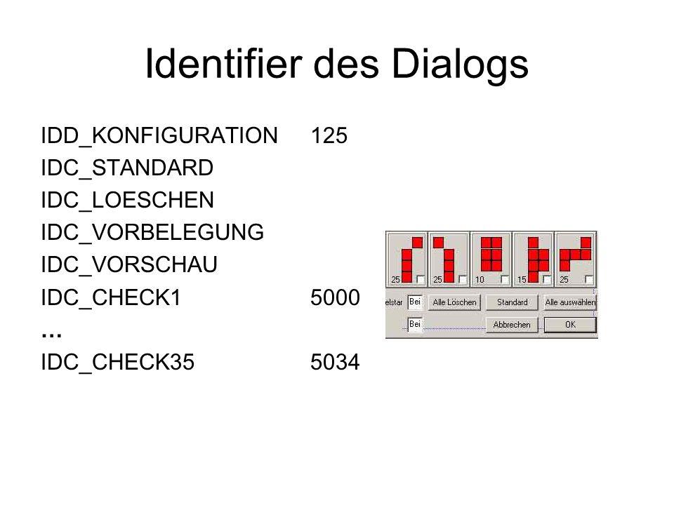 Identifier des Dialogs IDD_KONFIGURATION125 IDC_STANDARD IDC_LOESCHEN IDC_VORBELEGUNG IDC_VORSCHAU IDC_CHECK1 5000 … IDC_CHECK35 5034
