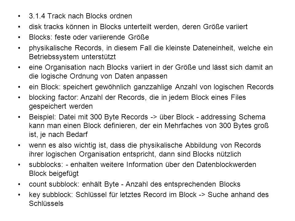 3.1.4 Track nach Blocks ordnen disk tracks können in Blocks unterteilt werden, deren Größe variiert Blocks: feste oder variierende Größe physikalische