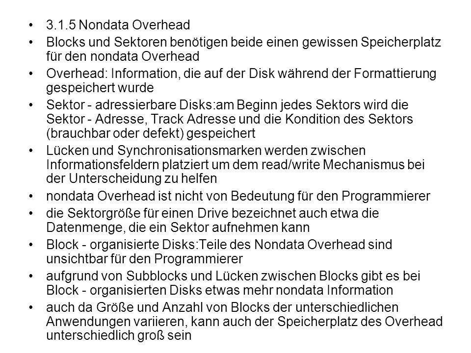 3.1.5 Nondata Overhead Blocks und Sektoren benötigen beide einen gewissen Speicherplatz für den nondata Overhead Overhead: Information, die auf der Di