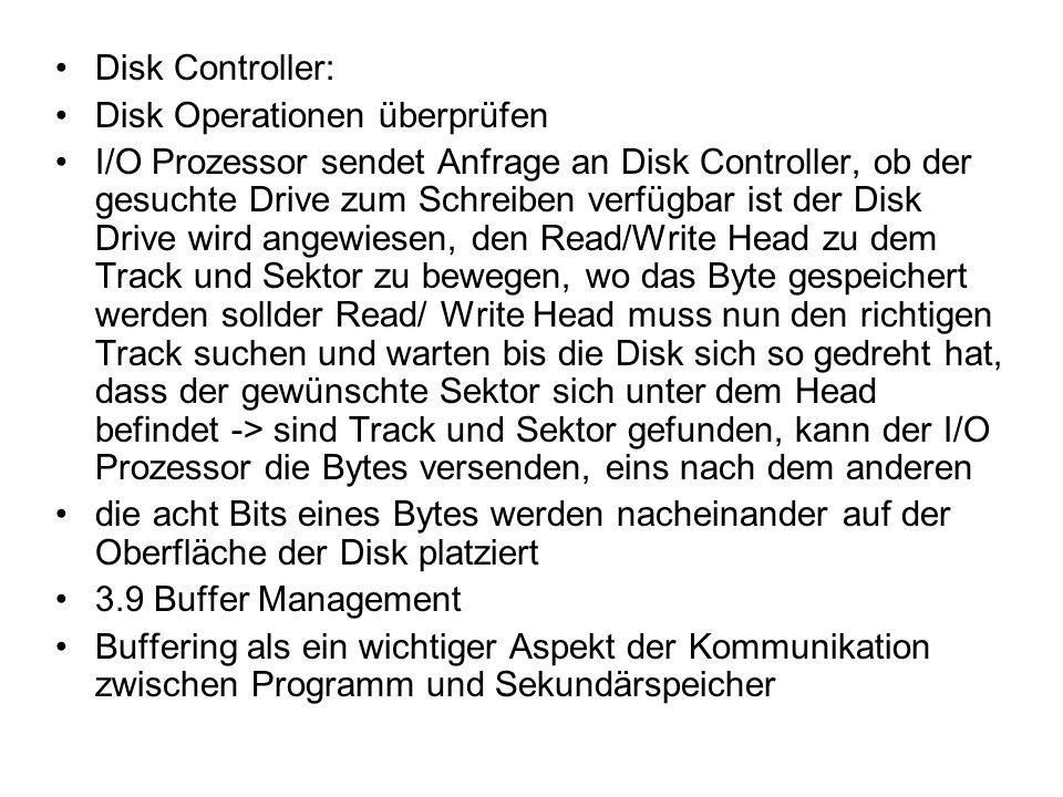 Disk Controller: Disk Operationen überprüfen I/O Prozessor sendet Anfrage an Disk Controller, ob der gesuchte Drive zum Schreiben verfügbar ist der Di