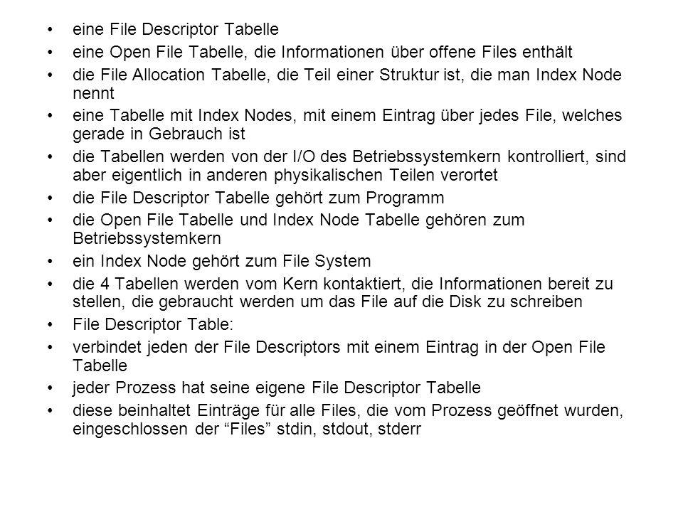 eine File Descriptor Tabelle eine Open File Tabelle, die Informationen über offene Files enthält die File Allocation Tabelle, die Teil einer Struktur