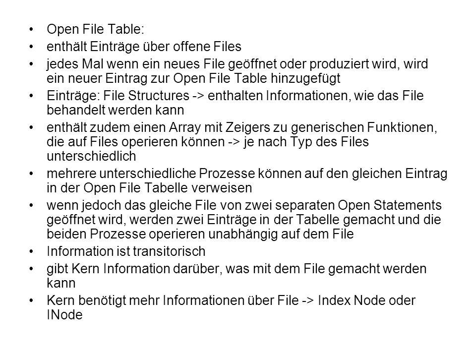Open File Table: enthält Einträge über offene Files jedes Mal wenn ein neues File geöffnet oder produziert wird, wird ein neuer Eintrag zur Open File