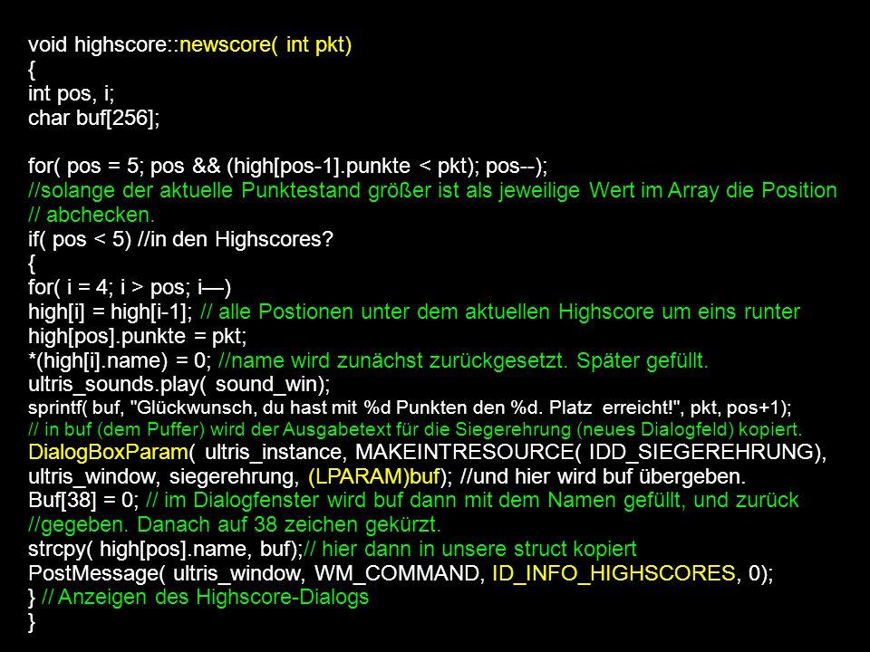 BOOL CALLBACK siegerehrung( HWND hwndDlg, UINT uMsg, WPARAM wParam, LPARAM lParam) { static char *parameter; switch (uMsg) { case WM_INITDIALOG: // wenn das Fenster initialisiert wird, wird der Dialogtext des Items mit dem Paramter aktualisiert ankgeziegt.