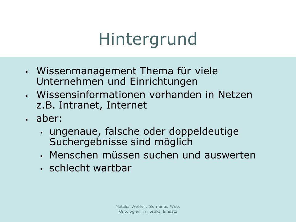 Natalia Wehler: Semantic Web: Ontologien im prakt.