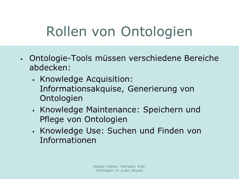 Natalia Wehler: Semantic Web: Ontologien im prakt. Einsatz xxx Methodik Projektvorgehen Usecases